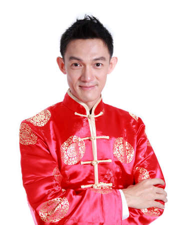 Asian man is smile in chinese new year day,on white background  photo