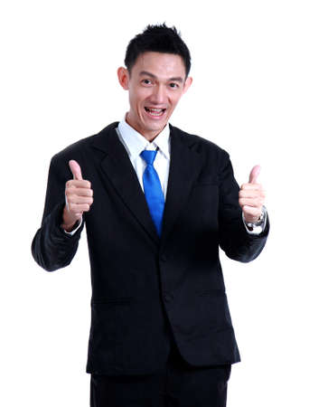 Business man hand icon like and smile on white background. photo
