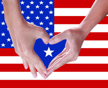 man hands love, the american flag,4th of July independence day background  photo
