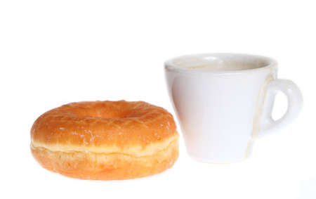 Donut with coffee on a white background photo