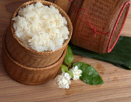 thai laos bamboo sticky rice container ,Kratip is bamboo container Stock Photo