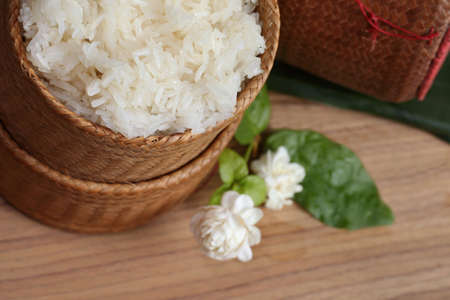 thai laos bamboo sticky rice container ,Kratip is bamboo container Banque d'images