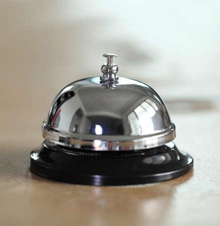 service desk: service bell on the hotel reception desk Stock Photo