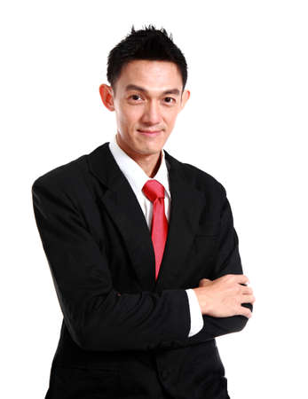 smiling young business man, isolated on white background. photo