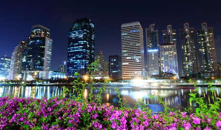 benjakitti: Cityscape view of modern buildings at Benjakitti garden at dusk in Bangkok, Thailand