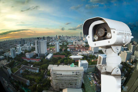CCTV with Blurring City in background. Banque d'images