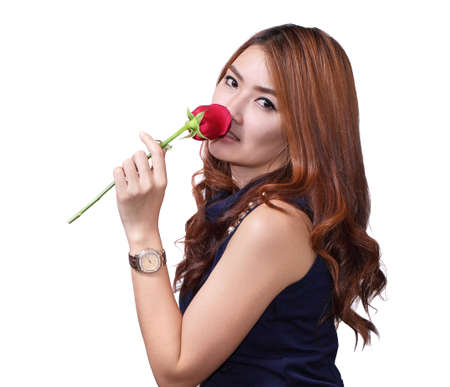 Woman with red rose on Vaentine day.on white background. photo