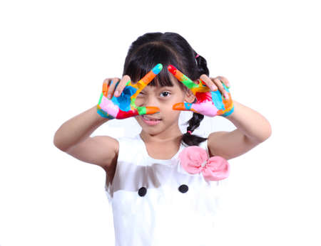 Girl with paint on white background Stock Photo
