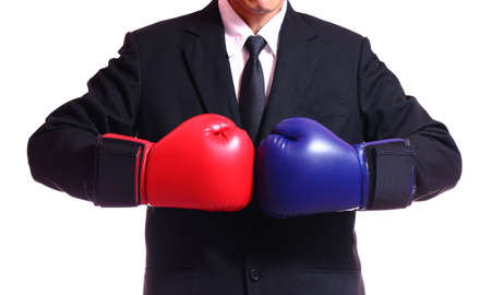 businessman in boxing gloves isolated on white background. Imagens