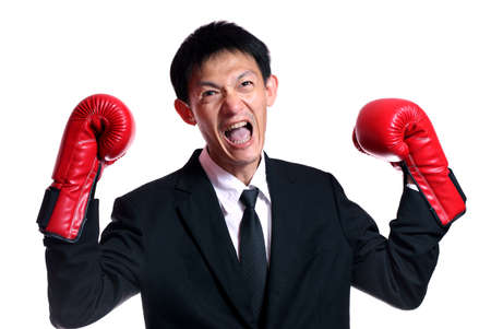 self assured: Boxing gloves man - concept showing aggressive female  flexing muscles wearing boxing gloves isolated on white background.Handsome young businessman with boxing gloves. Studio white background