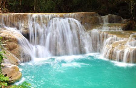 khamin: Huay Mae Khamin, Paradise Waterfall located in deep forest of Thailand. Huay Mae Khamin - Waterfall is so beautiful of waterfall in Thailand, Huay Mae Khamin National Park, Kanchanaburi, Thailand. Stock Photo