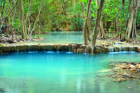 Huay Mae Khamin, Paradise Waterfall located in deep forest of Thailand. Huay Mae Khamin - Waterfall is so beautiful of waterfall in Thailand, Huay Mae Khamin National Park, Kanchanaburi, Thailand. photo