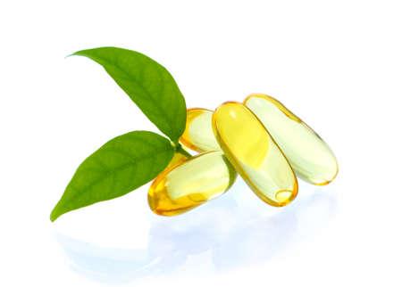 yellow vitamin omega3 fish oil capsule on white background