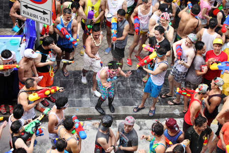 Bangkok April 15:Songkran Festival at Silom Road, Bangkok, is another beat place to celebrate Thai tradition New Year for thais and foreigners on Silom Bangkok April 15,2014 in Thailand 新聞圖片