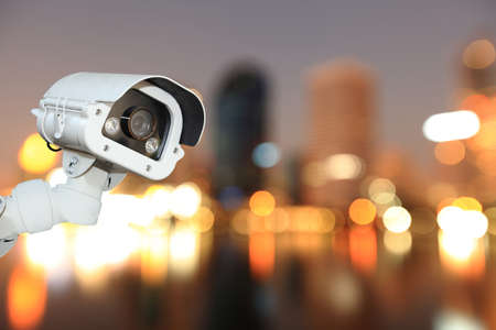 blurring: CCTV with Blurring City in night background. Stock Photo