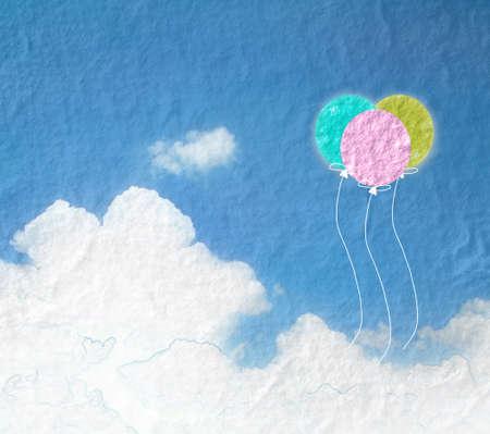Grunge Bild des blauen Himmel mit Wolken und bunten Luftballons balloon.Color Banner Hintergrund.