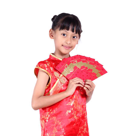 red packet: Beautiful asian girl holding ang pow or red packet monetary gift on white background isolated