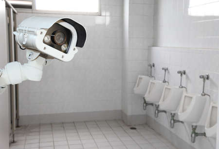 public toilet: CCTV in building in public toilet. Stock Photo