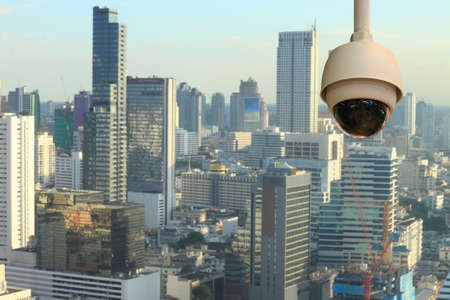 blurring: CCTV with Blurring City in background. Stock Photo