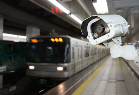 CCTV Camera security operating on subway station platform.underground railways station.