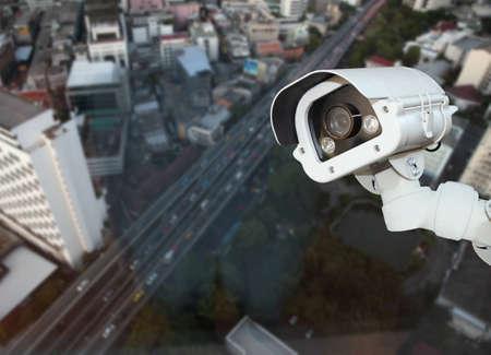 blurring: CCTV with Blurring City background. Stock Photo