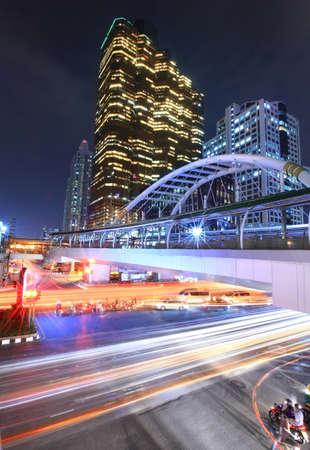 night traffic: Night traffic in sathorn road ,Bangkok