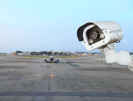 CCTV camera or surveillance operating in air port Banque d'images