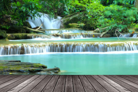 khamin: Blurred Top view,Paradise Waterfall located in deep forest of Thailand. Huay Mae Khamin - Waterfall is so beautiful of waterfall in Thailand,Thailand with wooden floor. Stock Photo