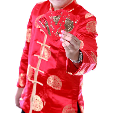 man holding money: Asian man. Holding money in red envelopes.,chinese new year on white background