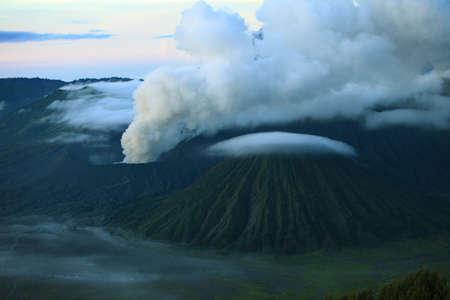 tengger: Beautiful Vibrant Bromo volcano at sunrise,Tengger Semeru National Park, East Java, Indonesia