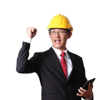 Engineer, foreman and worker are raising hands up isolated on white background.Engineering industrial industry businessman hand holding taplet.copy space.