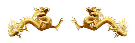 Couple chinese golden dragon isolated on white with clipping path.Golden traditional chinese dragon isolated on white background. Feng Shui statuette.