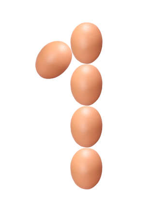Number one made of Easter Eggs isolated on white background.Chicken eggs number 1 isolated on white background.