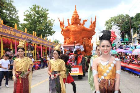 UBON RACHATANEE, THAILAND - JULY 20 : Thai candle festival parade at Ubon Rachatanee on July 20,2016 .Candle festival happen on Buddhist lent day.
