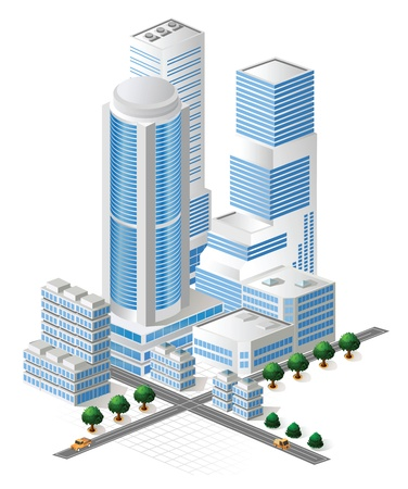 building activity: Vector tall buildings in blue tones on white background
