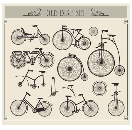 retro bicycle: Vector conjunto de motos antiguas en un fondo gris Vectores