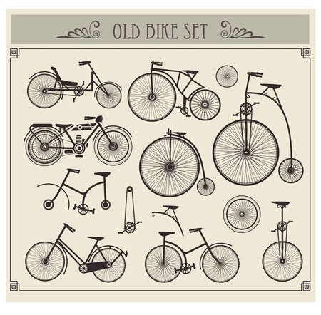 bike wheel: Vector set of old bikes on a gray background