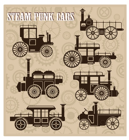 A set of silhouettes of vintage cars in the style of steam-punk