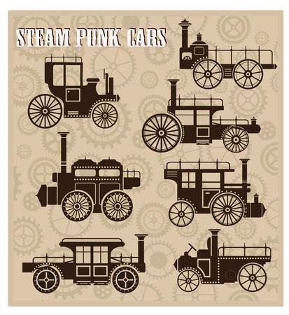 Eine Reihe von Silhouetten von Oldtimern im Stil des Steampunk-