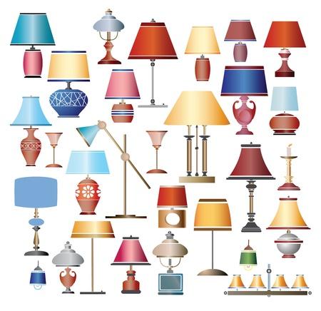 Kleurenafbeeldingen van de lampen op een witte achtergrond