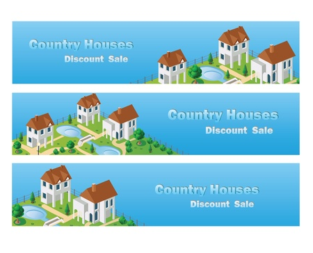 Perspective view of the village houses in the vector on the sky. Vector