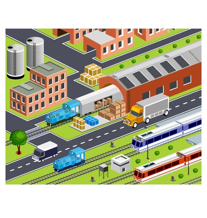 3D station with all buildings and transport Stock Vector - 11637556