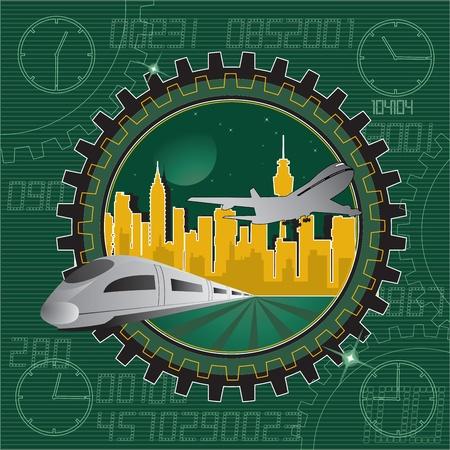 都市の背景に輸送