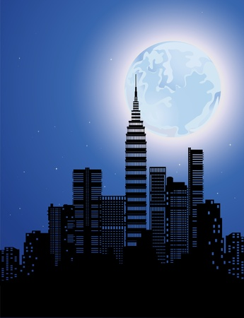 moon  metropolis: single moon against the backdrop of skyscrapers  Illustration