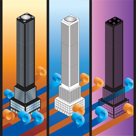 Different versions of buildings Stock Vector - 11973200