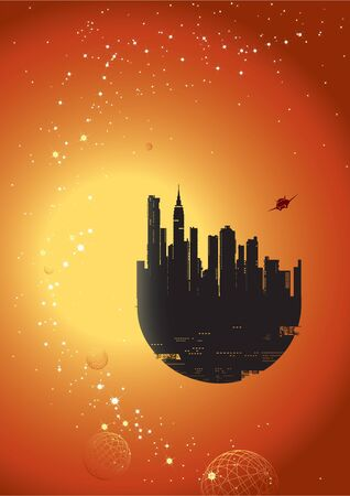 twilight: flying city against the backdrop of the sun and stars  Illustration