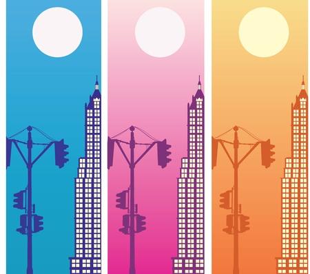 a city against the moon Vector
