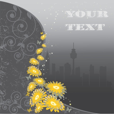 Yellow flowers against a city Stock Vector - 11973221
