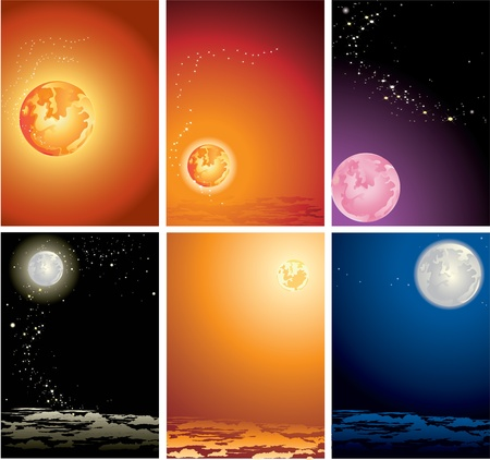 light trails: Various variants of planets in the star sky