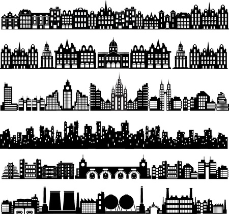 transportation silhouette: Various variants of houses on the white Illustration